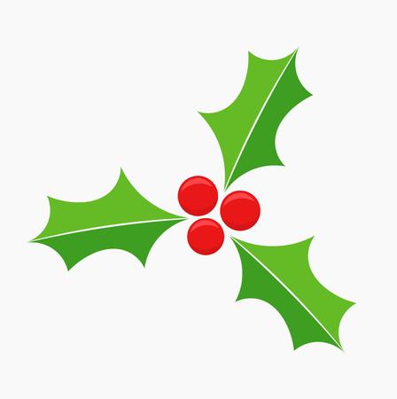 hojas de arbol: S�mbolo de la baya del acebo de Navidad. Ilustraci�n vectorial Vectores