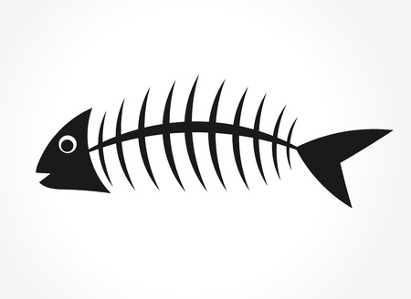 illustration of black fishbone: Fish bone. Vector illustration