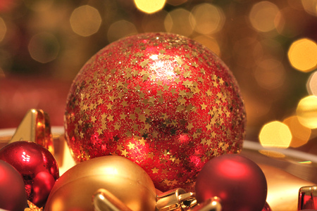 subdued: Christmas glass ornaments background