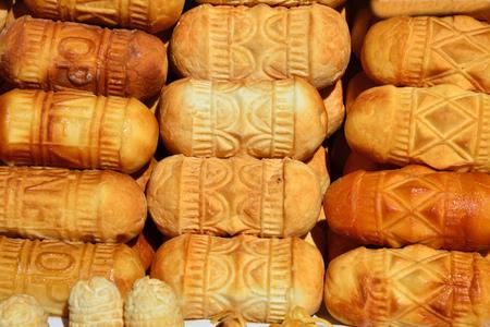 zakopane: Traditional polish smoked cheese oscypek on stall in Zakopane