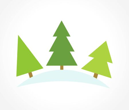 christmas trees: Three Christmas trees. illustration