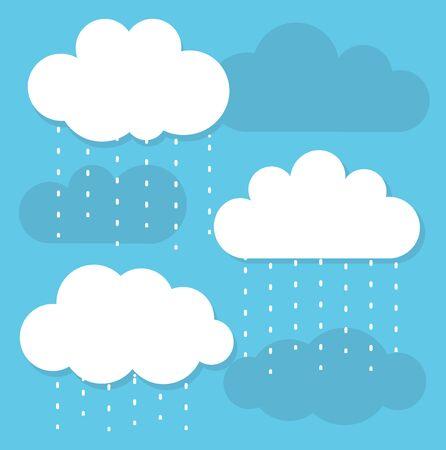 raining: White raining clouds and blue sky. illustration Illustration