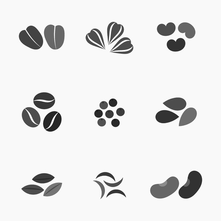 seeds of various: Various seeds collection icons. illustration Illustration