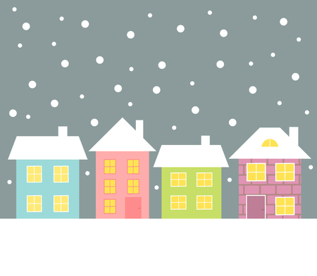 rows: Colorful houses in winter landscape. illustration