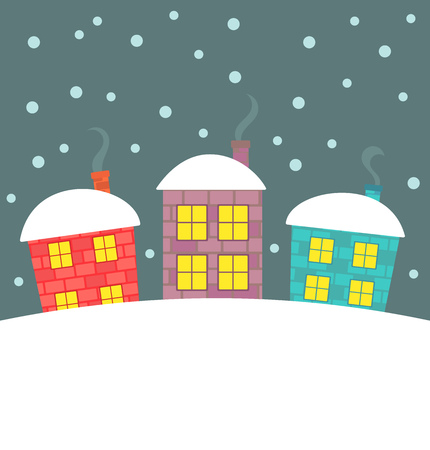 winter scenery: Cute houses in winter scenery. illustration