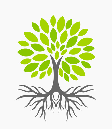 Eco tree with roots. illustration Vectores