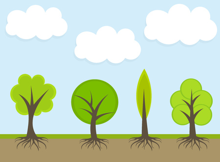 Spring trees. Vector illustration