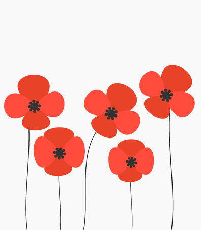 Red poppies flowers background. Vector illustration  イラスト・ベクター素材