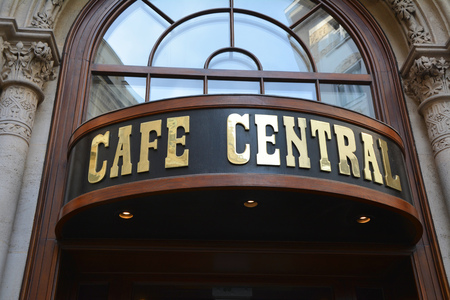 viennese: VIENNA, AUSTRIA - MAY 3, 2016: Entrance of the  Cafe Central, the old traditional cafeteria that was a meeting place of famous Viennese people Editorial