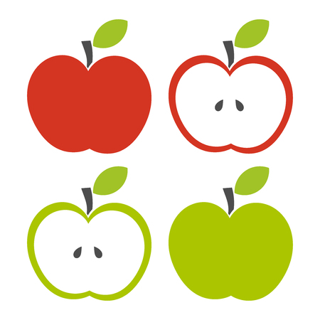 simple cross section: Set of red, green, half of fruit with leaf.