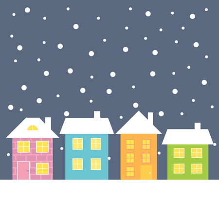 rows: Colorful houses at winter night illustration