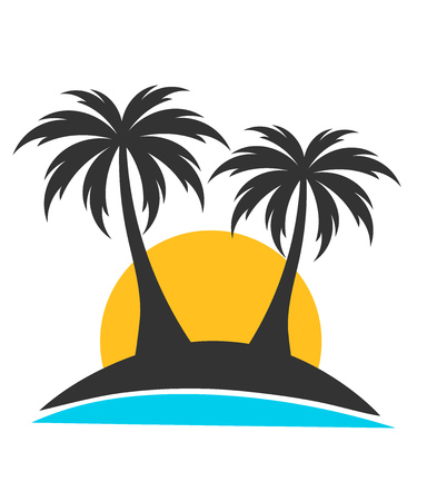 caribbean beach: Palm trees on island in sunset. Vector illustration Illustration