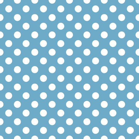 repetition dotted row: Polka dot white and blue pattern. Vector illustration