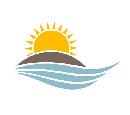 Sunset over island. Vector illustration