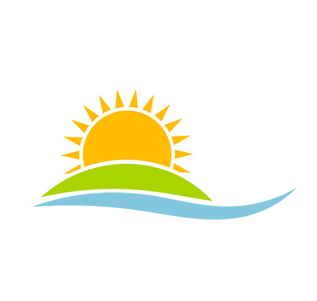 Sunset over green island. Vector illustration Stock Illustratie