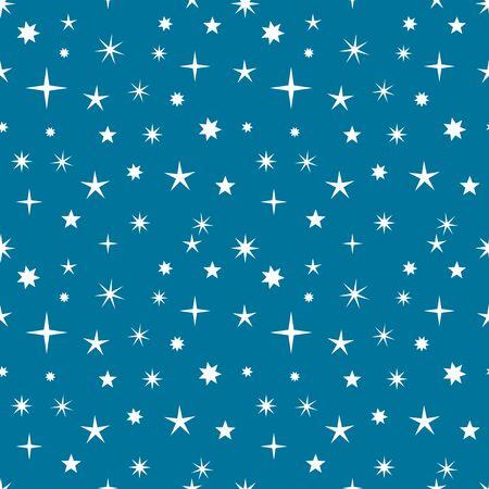 stars sky: Night sky stars seamless pattern. Vector illustration