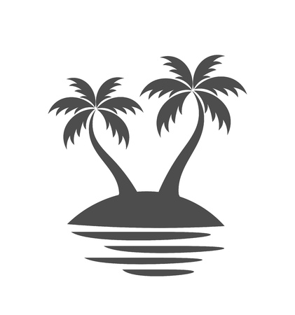 Palm trees on island. Vector illustration