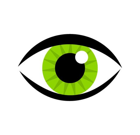 icono del ojo verde Ilustración de vector