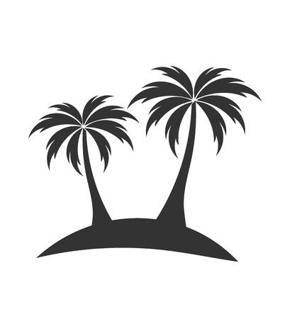 Palm trees on island black shape. Vector illustration Stock Illustratie