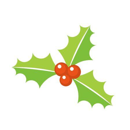 christmas plant: Holly berry Christmas plant symbol. Vector illustration