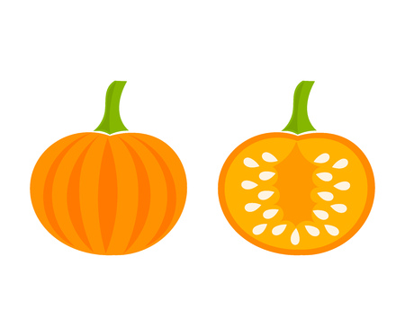 Pumpkin icons, whole and half with seeds inside. Vector illustration