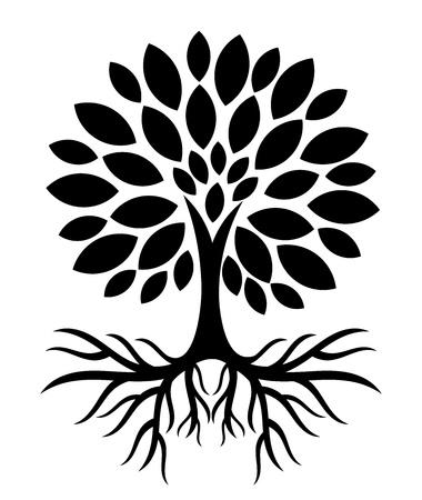 Boom met wortels silhouet. vector illustratie Stock Illustratie