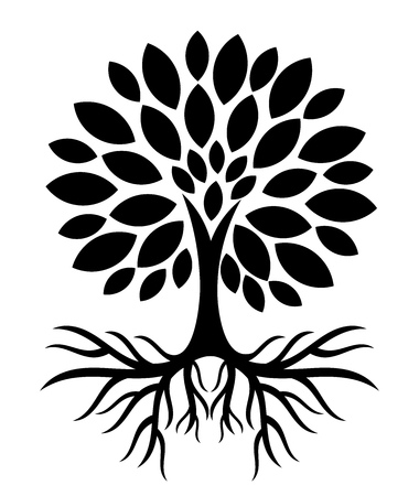 Tree with roots silhouette. Vector illustration Çizim