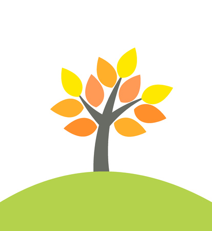 Autumn tree on hill. Vector illustration