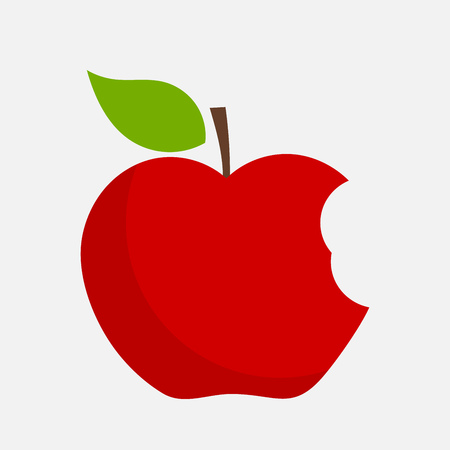 Red bitten apple with leaf. Vector illustration