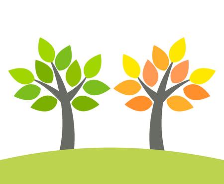 naranjo arbol: La primavera y el otoño árbol verde naranja. ilustración vectorial