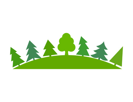 pine forest: Green trees forest symbol. Vector illustration