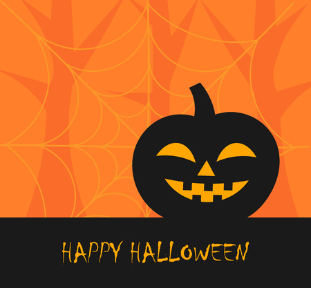 alphabet tree: Halloween pumpkin background. Vector illustration