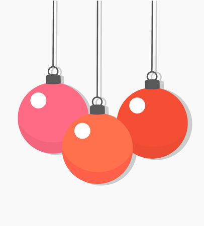 Christmas baubles hanging ornaments. Vector illustration