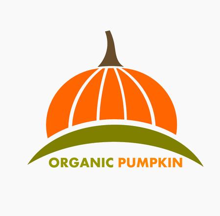 Organic pumpkin logo or icon. Vector illustration