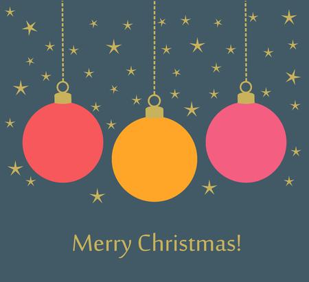 decorative line: Christmas balls card background. Vector illustration