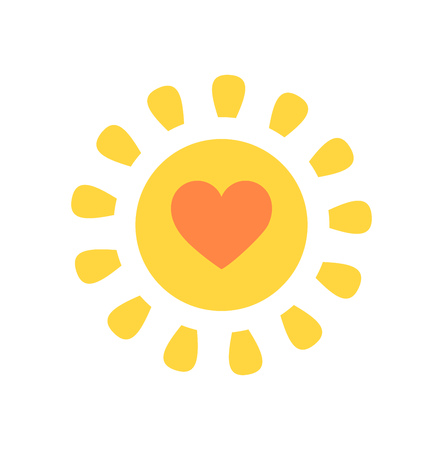 yellow heart: Cute sun with heart inside. Vector illustration
