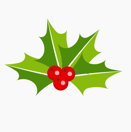 christmas plant: Holly berries Christmas plant symbol or icon. Vector illustration Illustration