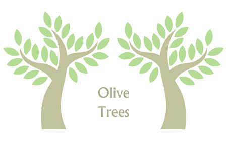 Symbolische olijfbomen. vector illustratie