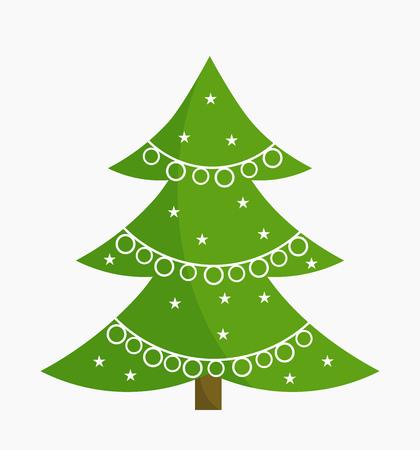 original single: Christmas tree with white ornament decoration. Vector illustration