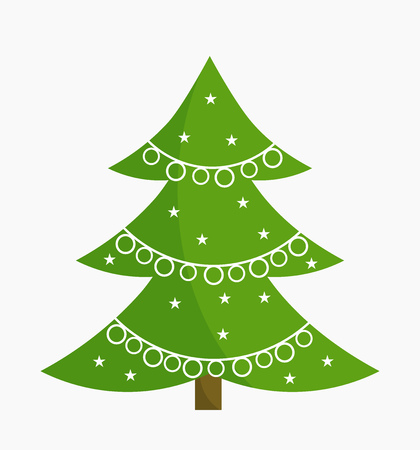 Christmas tree with white ornament decoration. Vector illustration