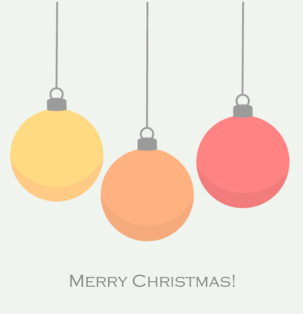 three wishes: Christmas baubles card. Vector illustration