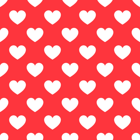 heart month: White hearts seamless red pattern. Vector illustration Illustration