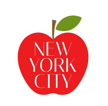 new york: Red Big apple New York City.
