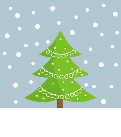 christmas tree illustration: Christmas tree card illustration