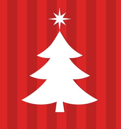 christmas tree illustration: White Christmas tree on red background illustration
