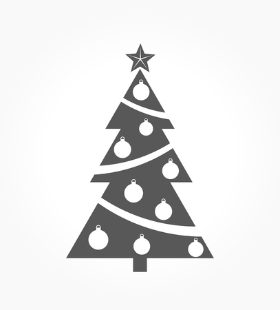 black tree: Christmas tree icon illustration