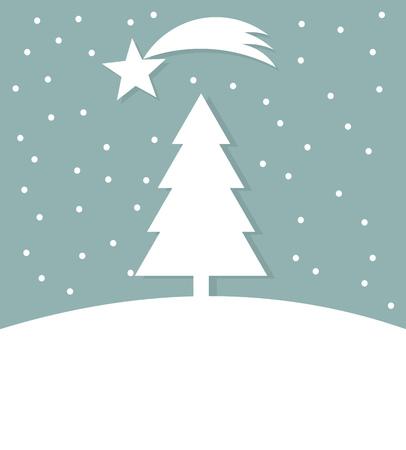 christmas tree illustration: Christmas tree winter card illustration Illustration