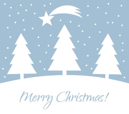 trees illustration: Christmas trees winter card. Vector illustration