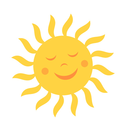 Cute sun with smile.