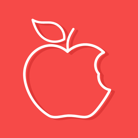 Linear white shape of bitten apple icon.